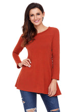 Load image into Gallery viewer, Rust Red Button Side Long Sleeve Swingy Tunic