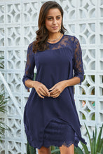 Load image into Gallery viewer, Blue Chiffon Overlay Three Quarter Sleeve Dress