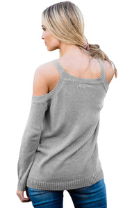 Gray Cold Shoulder Lace up Detail Knit Sweater Top