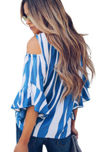 Load image into Gallery viewer, Sky Blue Cold Shoulder Vertical Stripes Blouse