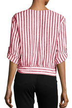 Load image into Gallery viewer, Red Striped Wrap Button Down Shirt