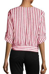 Red Striped Wrap Button Down Shirt