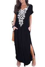 Load image into Gallery viewer, Black Lace Front Pocket Short Sleeve Split Casual Loose Maxi Dress