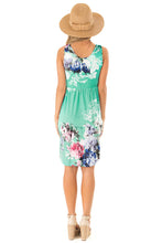 Load image into Gallery viewer, Green Floral Print Sleeveless Button up Dress