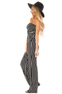 Black White Striped Sleeveless Jumpsuit