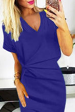 Load image into Gallery viewer, Blue V Neck Cutout Inverted Pleat Bodycon Dress