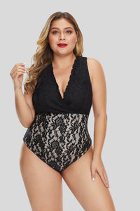 Black Plus Size Deep V Neck Floral Lace Lined Bodysuit