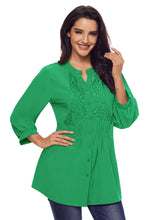 Load image into Gallery viewer, Green Lace and Pleated Detail Button up Blouse