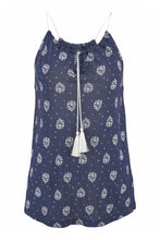Load image into Gallery viewer, Navy Flowery Print Spaghetti Strap Vest Top