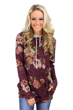 Load image into Gallery viewer, Red Floral Cowl Neck Sweatshirt
