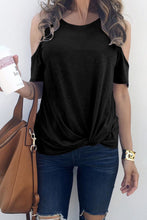 Load image into Gallery viewer, Black Twist Front Cold Shoulder Tee