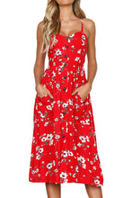 Load image into Gallery viewer, Flowerlet Print Red Button Down Sundress