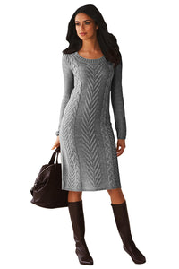 Gray Women's Hand Knitted Sweater Dress