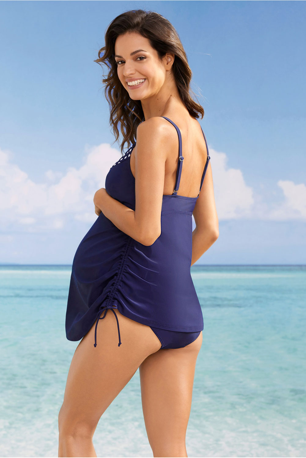 Blue Tank Top Maternity Swimsuit with Panty