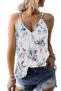 White Tropical Plant Print Tank Top
