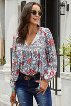 Load image into Gallery viewer, Red Floral Vintage V Neck Blouse