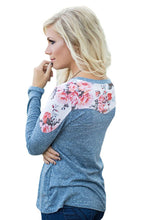 Load image into Gallery viewer, Floral Shoulder Patch Heathered Blue Top