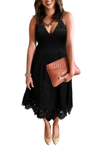 Black Lace Floral V Neck Backless Cocktail A-Line Dress