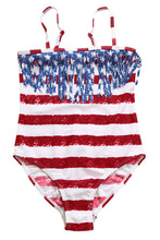 Load image into Gallery viewer, Flag Striped Star Tassel Little Girl Swimsuit