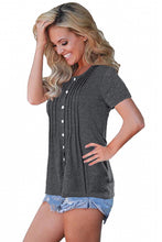 Load image into Gallery viewer, Gray Button Up Crinkle Chest T Shirt