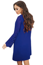 Load image into Gallery viewer, Blue Sheer Floral Sleeve Swing Dress