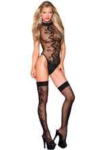 Load image into Gallery viewer, Sexy Jacquard Swirl Teddy with Stocking