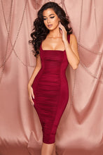 Load image into Gallery viewer, Red Square Neck Ruched Bodycon Midi Dress