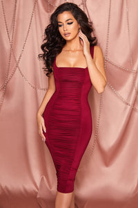 Red Square Neck Ruched Bodycon Midi Dress