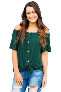 Green Off the Shoulder Button Top