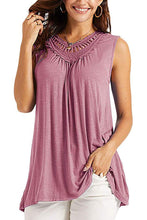 Load image into Gallery viewer, Pink Crochet Hollow Out Sleeveless Flowy Tank