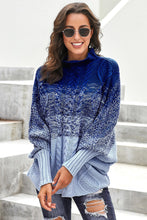 Load image into Gallery viewer, Sky Blue Ombre Thick Knit Poncho Style Sweater