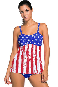 Multicolor Stripes and Stars Flag Print Tummy Control Tankini