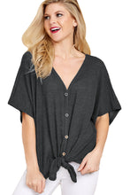 Load image into Gallery viewer, Black Dolman Buttoned Front Top with Tie