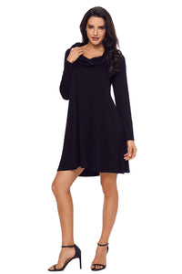 Black Cowl Neck Long Sleeve Casual Loose Swing Dress