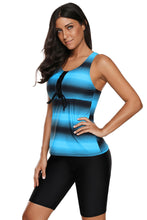 Load image into Gallery viewer, Blue Black Ombre Print Racerback Tankini Swimsuit