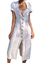 Load image into Gallery viewer, White Summer Buttoned Casual Shirt Maxi Dress