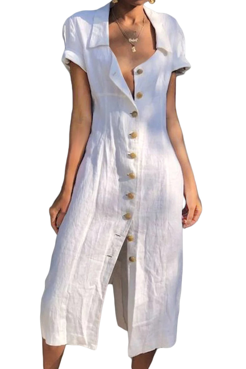 White Summer Buttoned Casual Shirt Maxi Dress