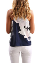 Load image into Gallery viewer, Blue V Neck Spaghetti Strap Floral Printed Tank Top
