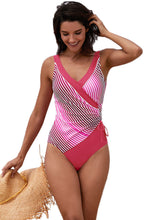 Load image into Gallery viewer, Rose Striped Spliced V Neck Maillot