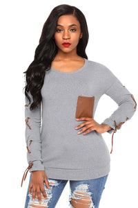 Gray Lace up Sleeve Front Pocket Women's Casual Top
