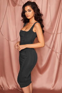 Black Square Neck Ruched Bodycon Midi Dress