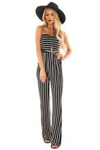 Load image into Gallery viewer, Black White Striped Sleeveless Jumpsuit