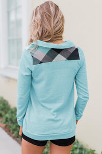 Green Touch of Plaid Pullover Button Sweatshirt