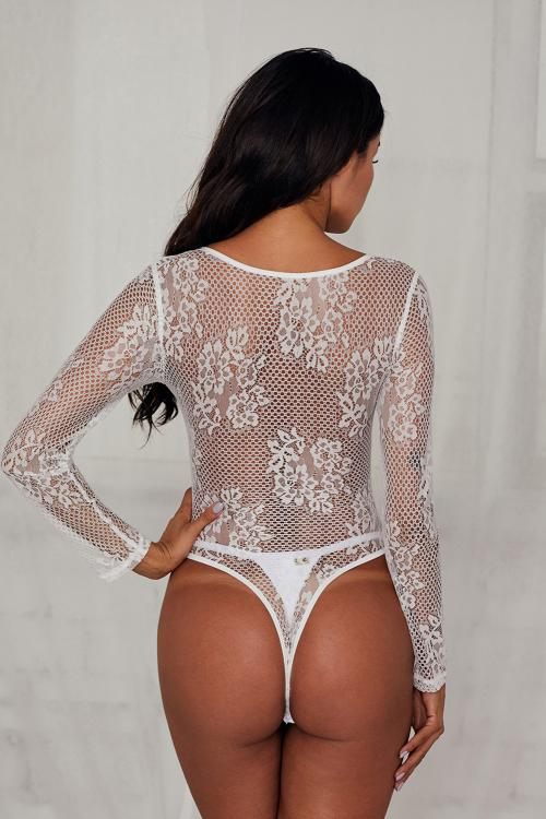 White Underwire Floral Lace Long Sleeve Bodysuit