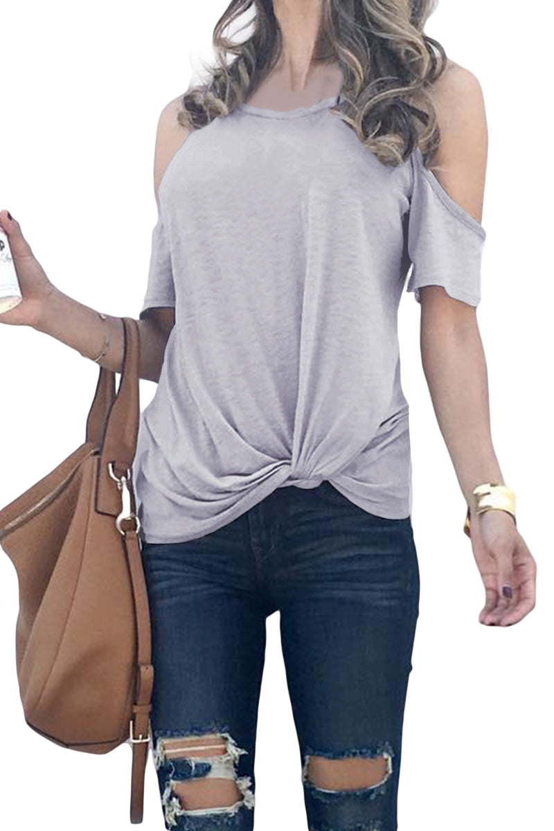 Gray Twist Front Cold Shoulder Tee