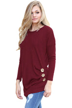 Load image into Gallery viewer, Claret Buttoned Side Long Sleeve Spring Autumn Womens Top