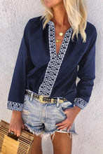Load image into Gallery viewer, Blue Retro Print V-Neck Blouse Top