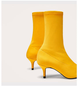 2020 New Women Sock Boots Pointed Toe Elastic High Boots Slip On High Heel Ankle Boots Women Sexy Pumps Stiletto Botas Yellow