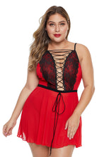 Load image into Gallery viewer, Red Lace-up Plus Size Babydoll