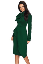 Load image into Gallery viewer, Jade Green Asymmetric Peplum Style Pussy Bow Dress